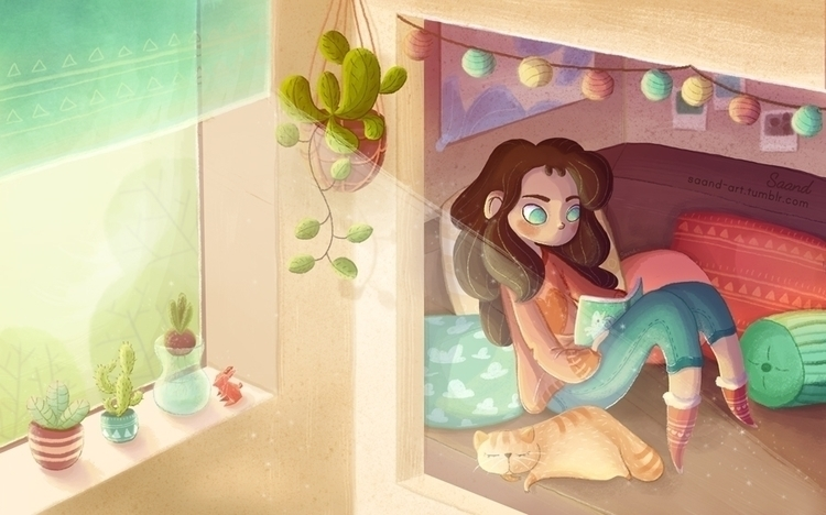 Cozy room ~ - illustration, characterdesign - saand | ello