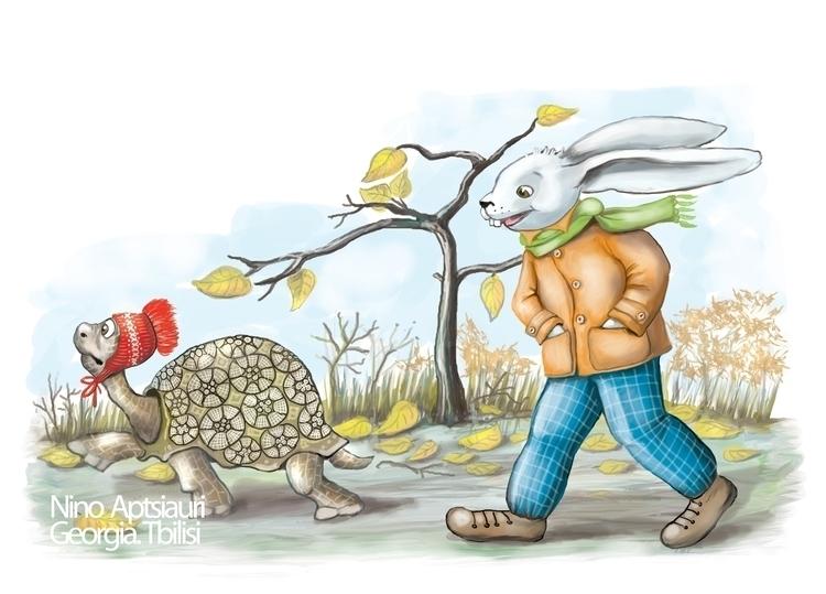 Tortoise Hare - illustration, painting - ninaaptsiauri | ello