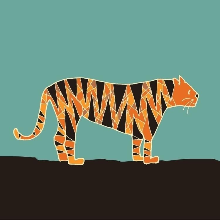 tiger - folkart - katewhitley | ello