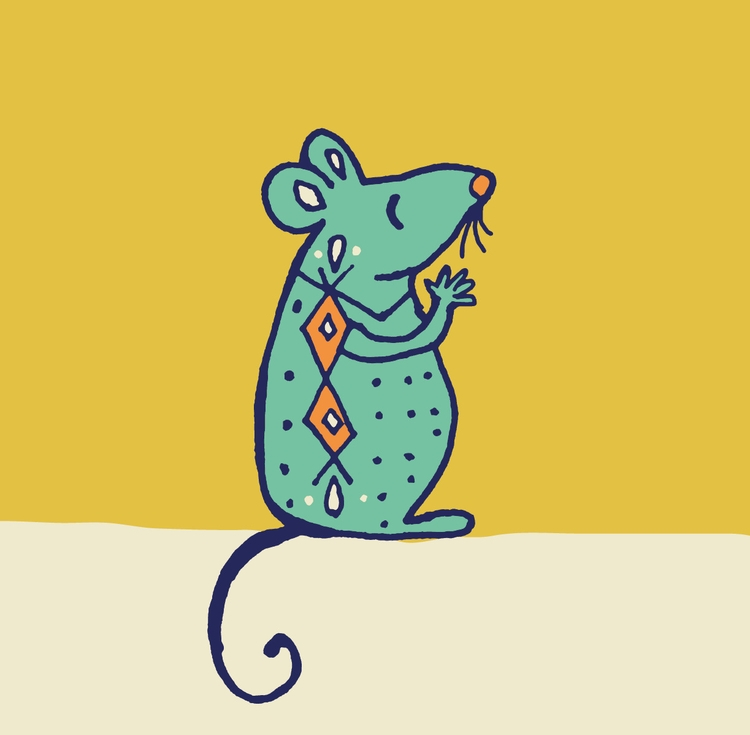 happy mouse - handdrawn, illustration - katewhitley | ello