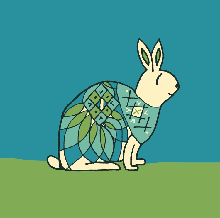 bunny - illustration, folkart - katewhitley | ello