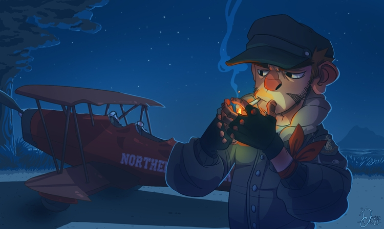 original character - illustration - raccoon-7080 | ello
