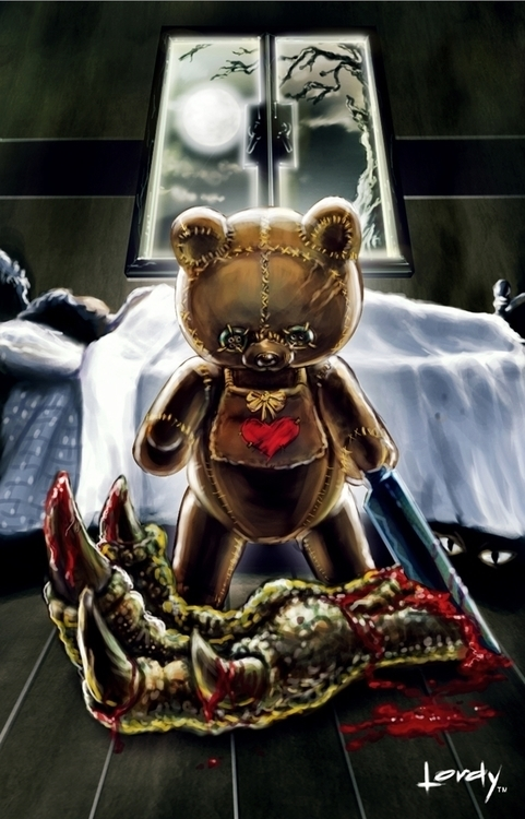 creepy teddy - illustration, painting - lordyboy-1442 | ello