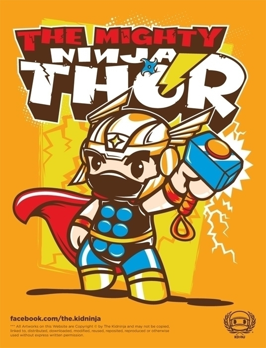 NinjaThor NinjAvengers Series - illustration - thekidninja | ello
