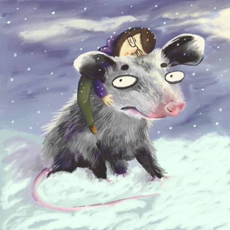 Opossum - opossum, digitalart, snow - prianikn | ello