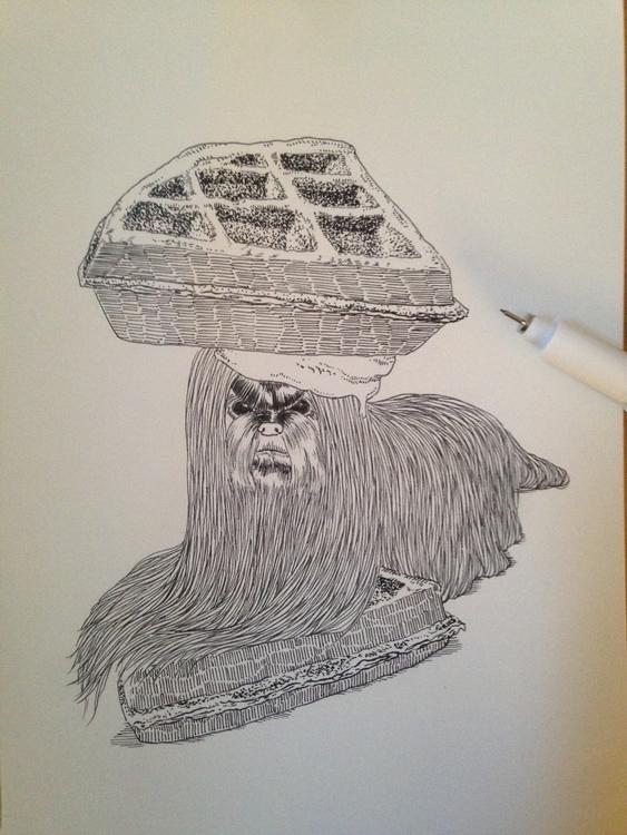 maltese waffle - illustration, drawing - sheenahsinlee | ello