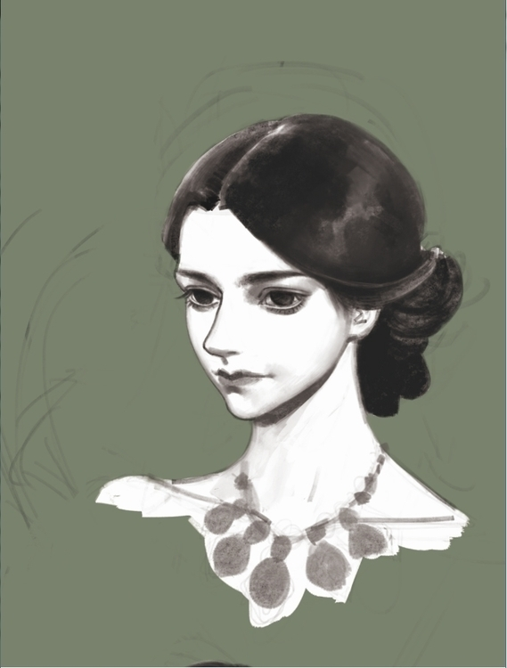 girl - illustration, painting, drawing - guojing | ello