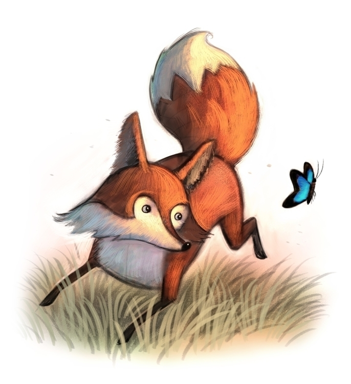 Jumping Fox - fox, butterfly, jump - willterry | ello