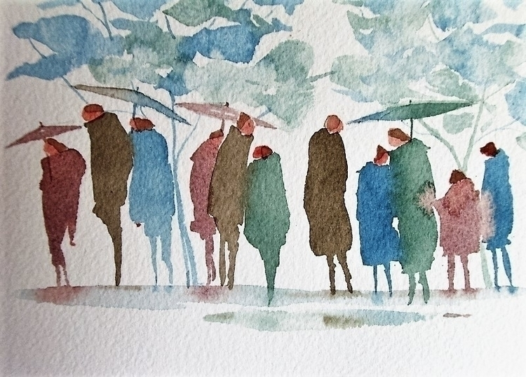 Rain - Watercolour, People, Umbrellas - paulfrance | ello