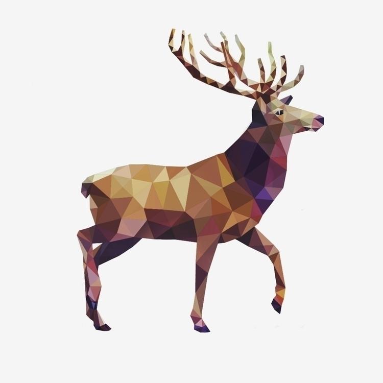 illustration, deer, geometric - marvellous-1264   ello