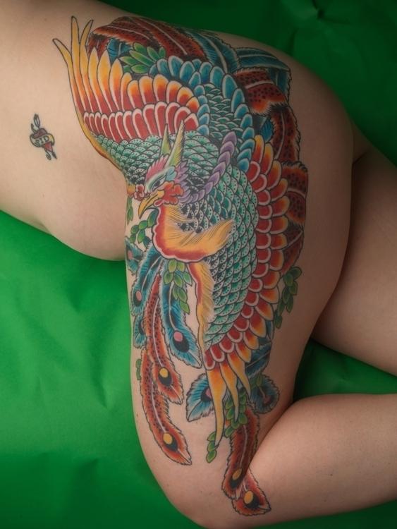 Fun Phoenix drawn fit hip leg - tattoo - matthewhodel | ello