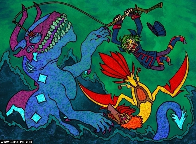 Fly Fishing: deep sea catch - illustration - grimapple   ello