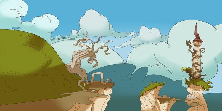 fantasy, castle, cartoon, environment - brokemypencil   ello