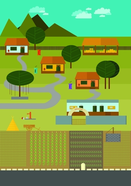 Indian Village - illustration - surabhij | ello