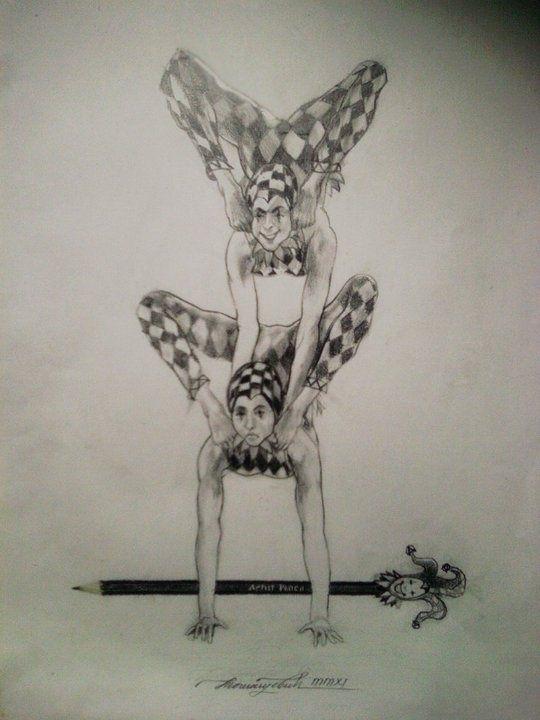 Tragicomedy. Pencil paper - drawing - tomasch516 | ello