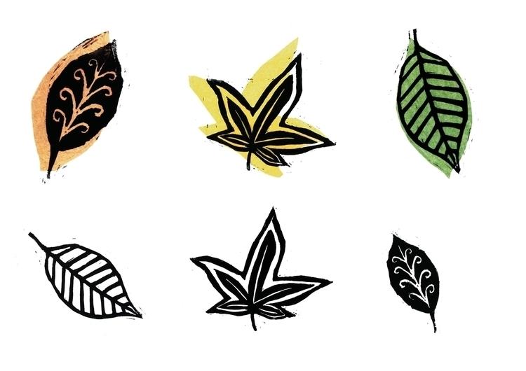 Leaf prints - linoprint, leaf, leaves - laurabuckland | ello