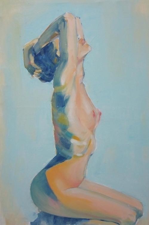 Lobelia - nude, nudity, nudes, oilpainting - maggiechao | ello