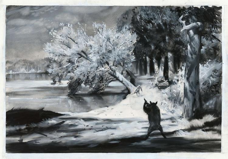 HERO, quache paper - painting, environment - zdendan   ello