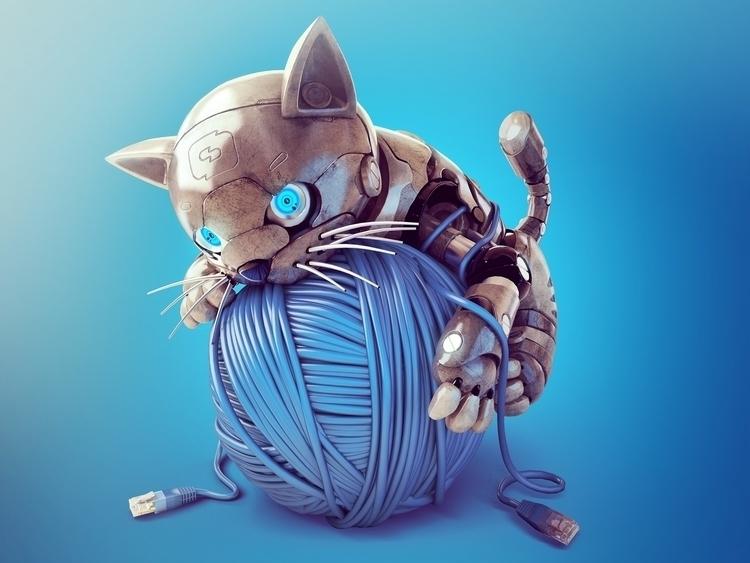 Terminator Cat - design mascot  - thundercloudstudio | ello