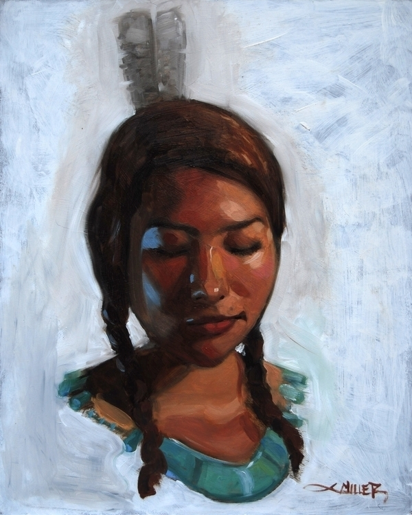 Pocahontas 16x20 oil wood - illustration - camm182 | ello