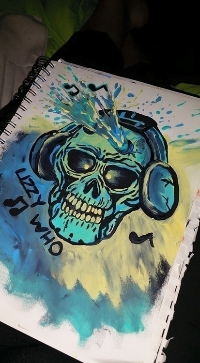 skull, abstract, art, painting - lizzywhothefunkc | ello