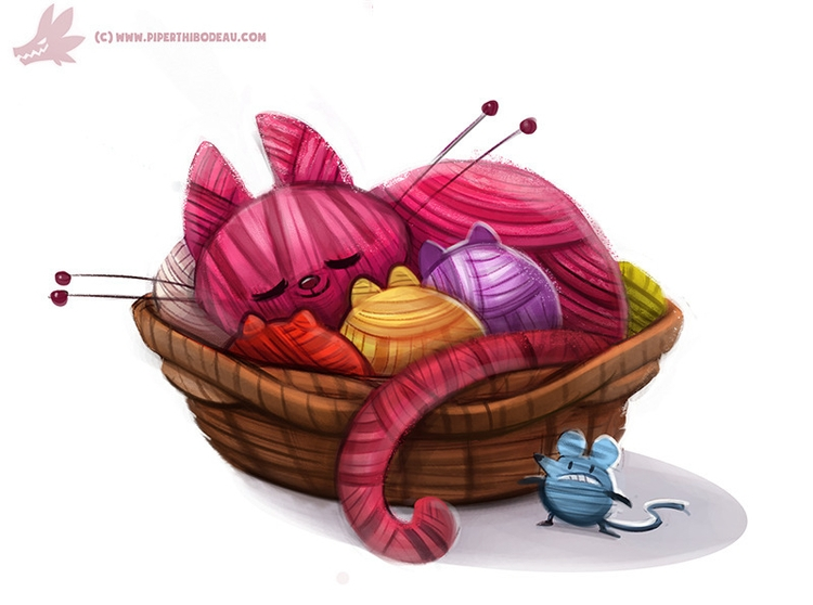 Daily Paint Yarn Cat (OG - 998. - piperthibodeau | ello