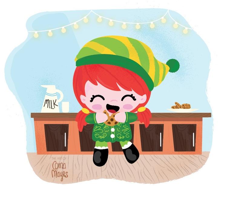 Elf eating cookies - christmas, illustration - ginamayes   ello