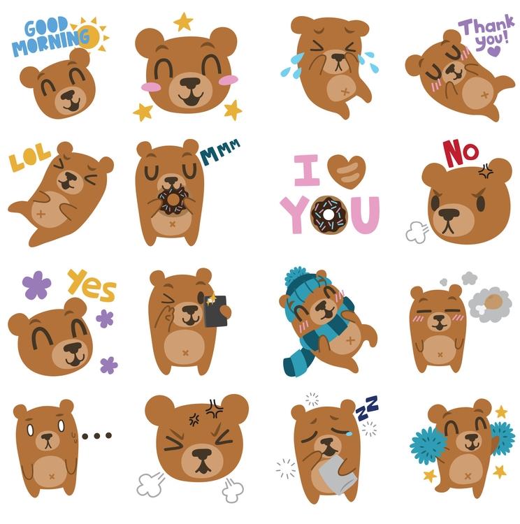 Billy Bear - Coco Stickers - stickers - clairestamper | ello