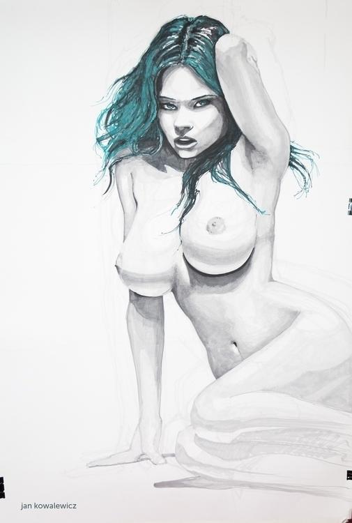 Green Lady 100 70 cm, Markers - nude - jandraws | ello
