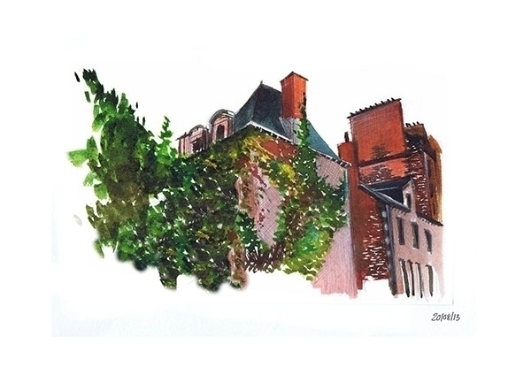 Aquarelle - house, drawing, painting - juliettemary | ello