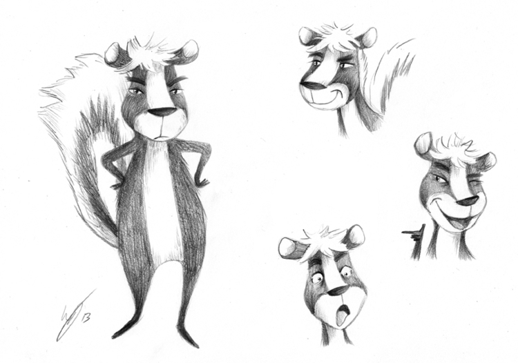 Character design Skunk - illustration - kellybreemer   ello