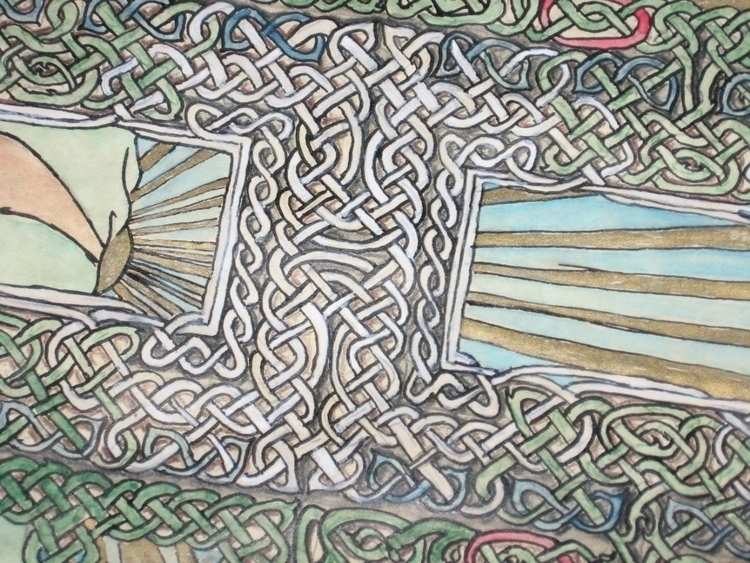 Detail, Sunrise Knotwork, pen w - crysodenkirk | ello