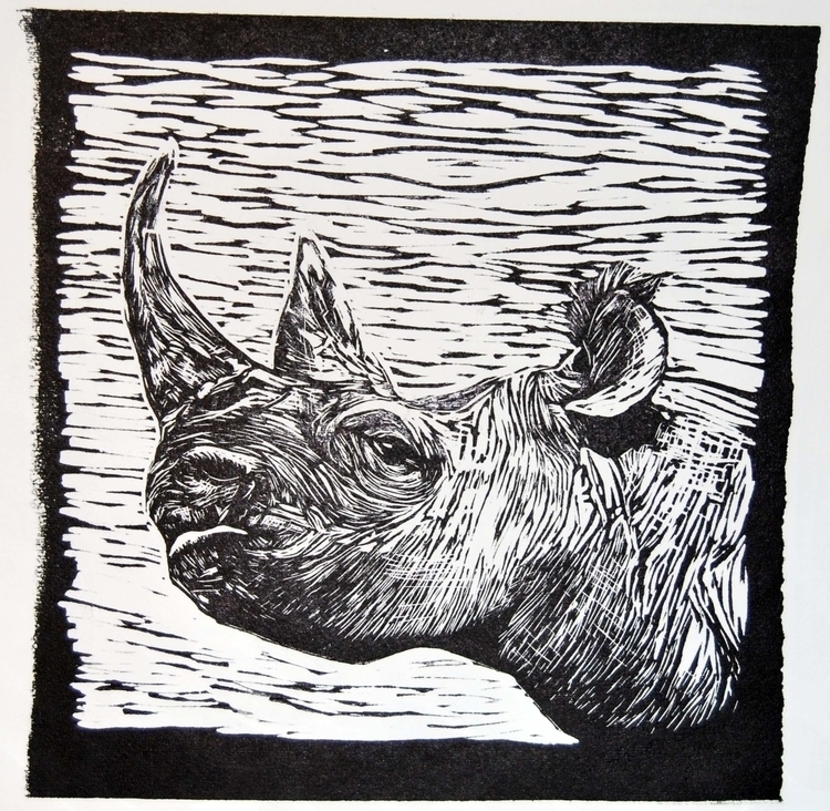 Save rhino - illustration, linoprint - marikeleroux | ello