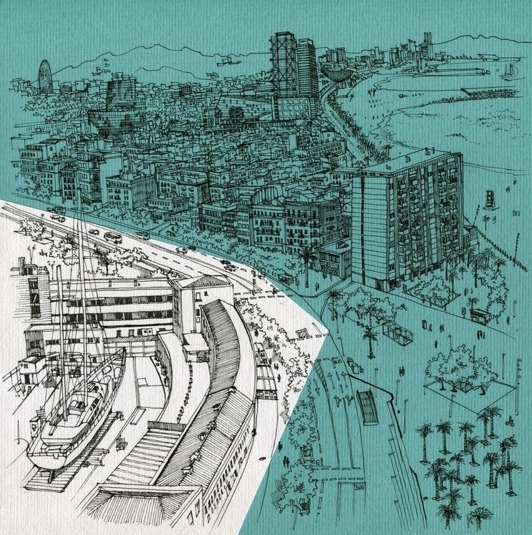 Barceloneta Torre de alta mar - illustration - dasha_sava | ello