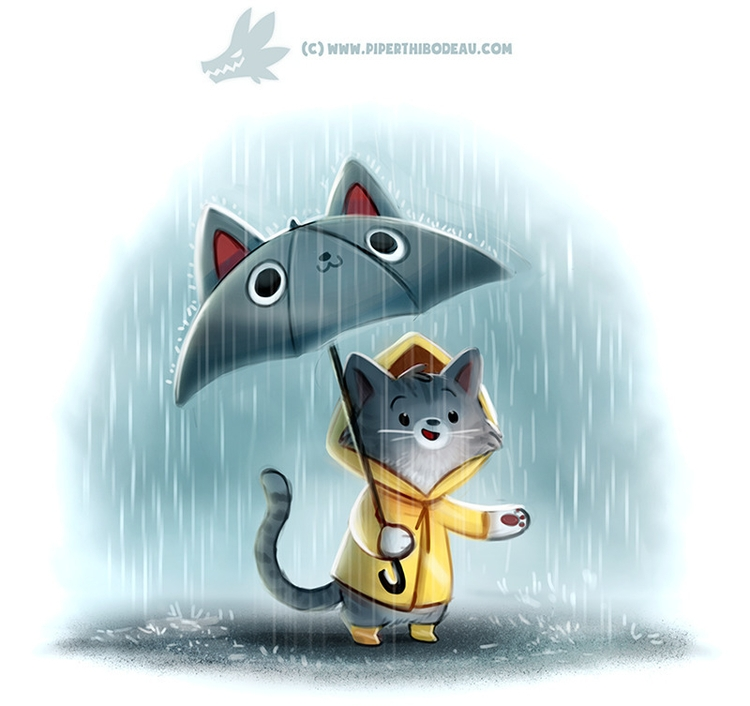 Daily Paint 1293. Downpurr - piperthibodeau | ello