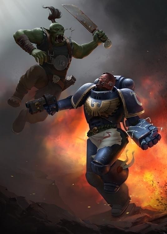 Ork spacemarine - illustration, warhammer40k - romankerimov | ello