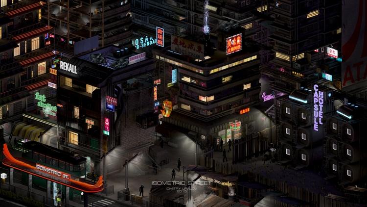 Isometric Street - 3d, cyberpunk - dmitryuralov   ello