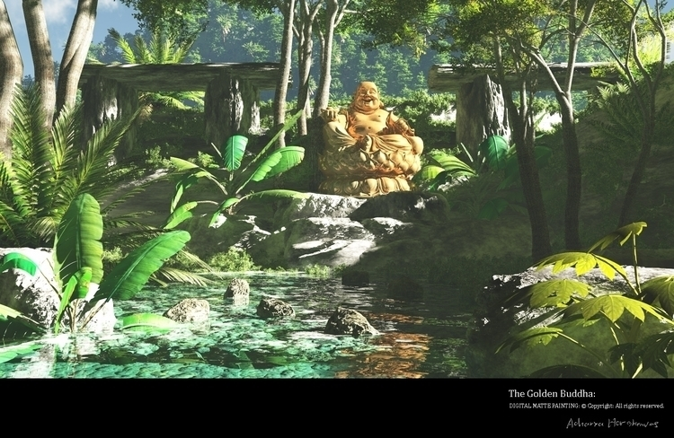 Golden Buddha - illustration, environment - acharyapolina | ello