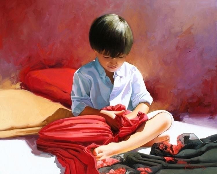 Scarves 81x100 cm. oil canvas - painting - josehiguera | ello