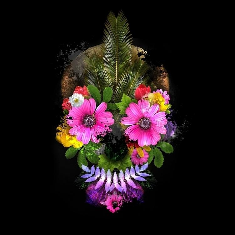 digitalart, skull, flowers, punk - nunoqueiros | ello