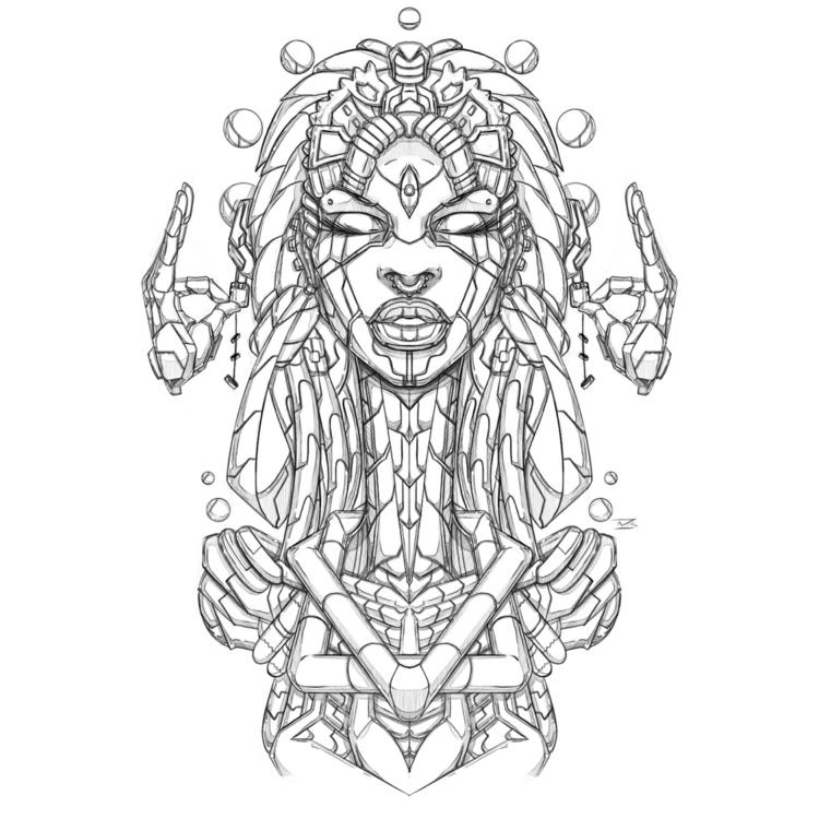 Afro-Mecha Series Piece Omega - illustration - theonewillfocus | ello
