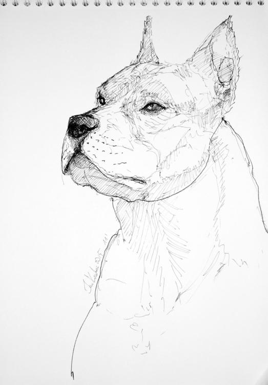 A3, 11', Artpen - dog, animal, ink - jandraws | ello