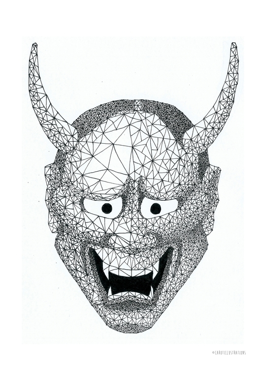 Geometric Hannya Mask - illustration - carotillustrations | ello