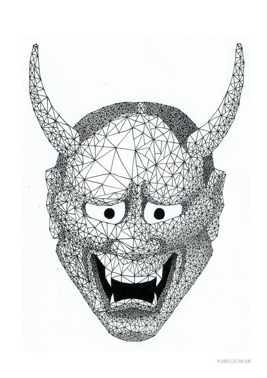 Geometric Hannya Mask - illustration - carotillustrations | ello