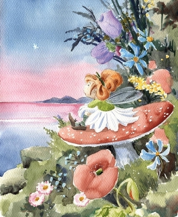 Flora Fairy, watercolor illustr - joannapasek | ello