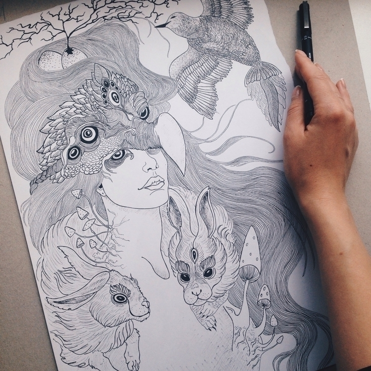 illustration, ink, penink, girl - alinav-3329 | ello