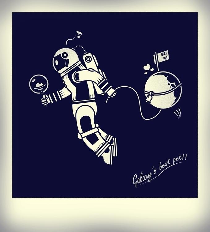 Pet - vectorart, retro, moon, astronaut - artyp | ello