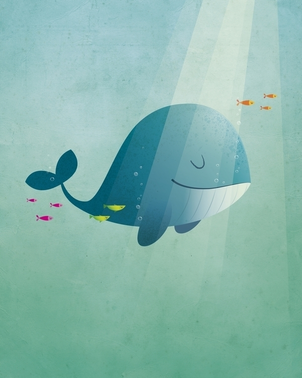 Happy whale - illustration, characterdesign - irenegough | ello
