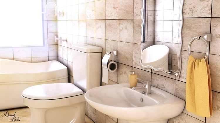 Bathroom - 3d, 3dmax, vray, photoshop - dawood-3963 | ello