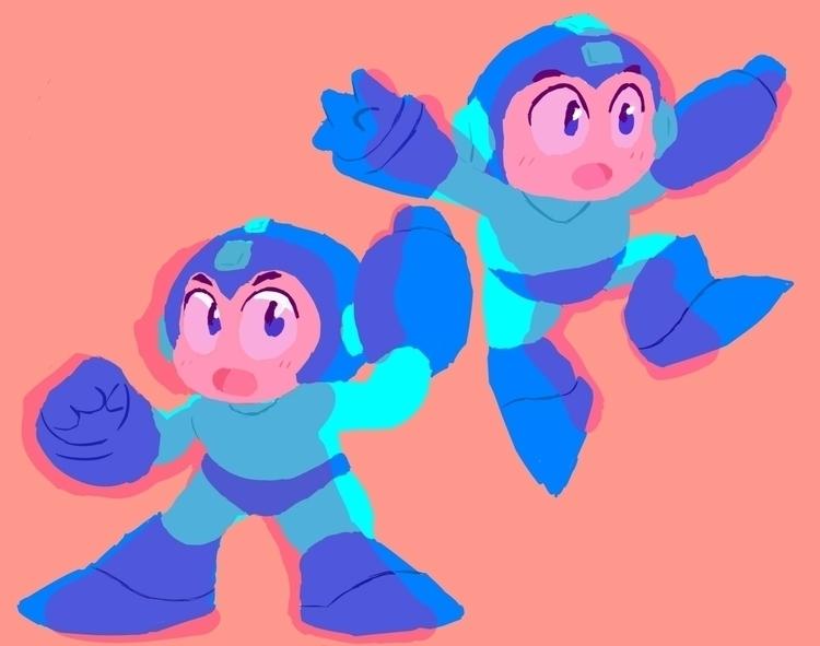 Megaman! colouring/shading prac - rabbott-8438 | ello